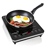 Ivation 1800 Watt Portable Induction Cooktop Countertop Burner, Easy Clean Full Glass Top w/Touch Button Control, Use with Induction Ready Cookware