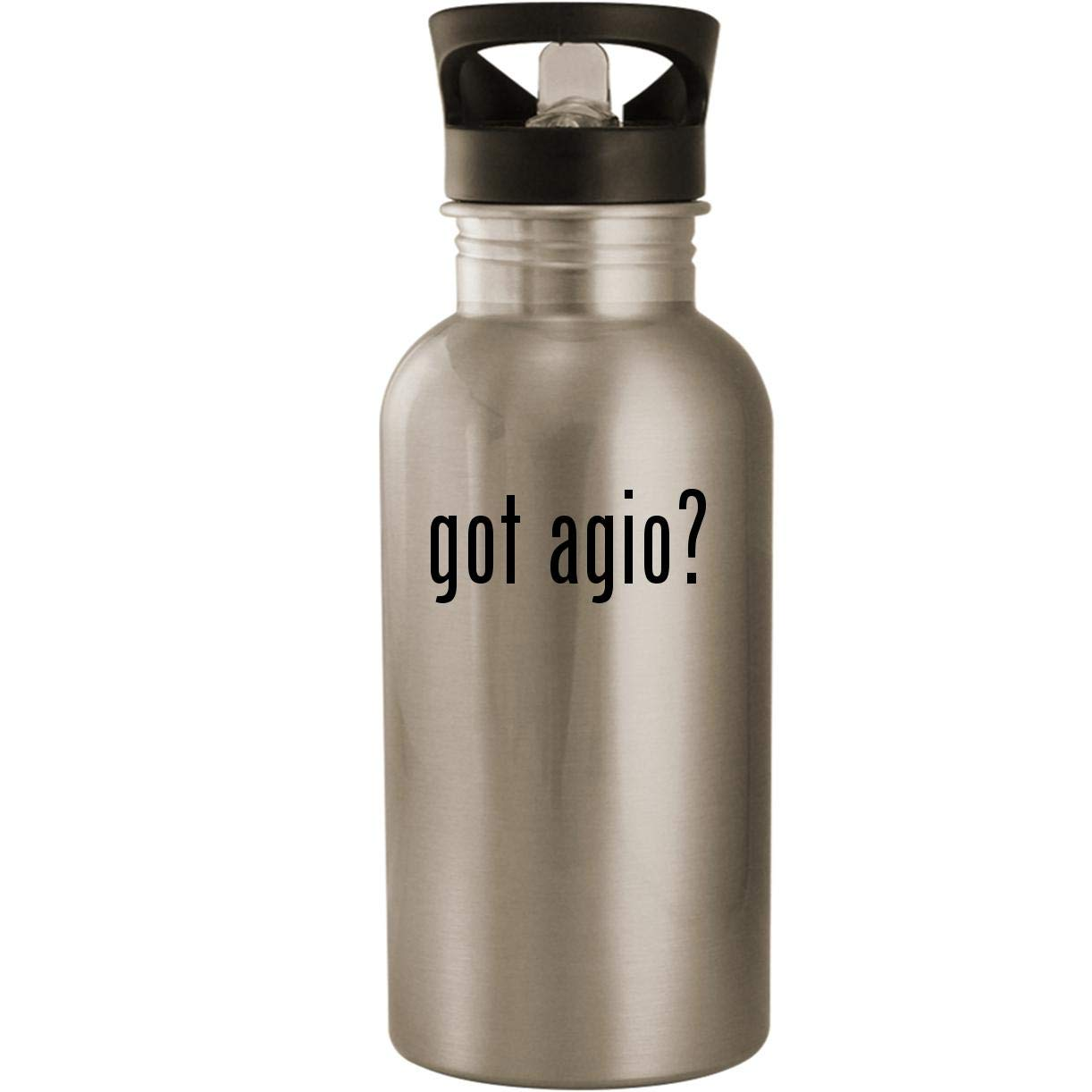 got agio? - Stainless Steel 20oz Road Ready Water Bottle, Silver