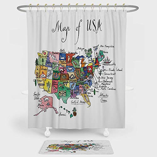 USA Map Shower Curtain And Floor Mat Combination Set American Plan