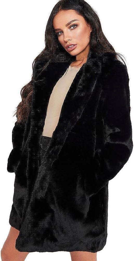 BHYDRY Chaqueta de Abrigo de Piel sintética Larga de Winter Lady para Mujer Parka Prendas de Abrigo