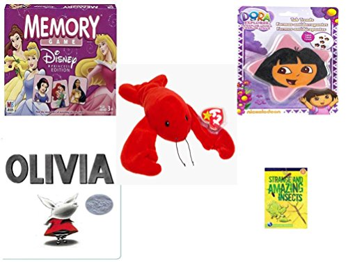Dora The Explorer Memory Game - Children's Gift Bundle - Ages 3-5 [5 Piece] - Disney Princess Edition Memory Game - Nickelodeon Dora The Explorer Star 5 Non-Slip Tub Treads - Ty Beanie Baby - Pinchers The Lobster - Olivia Board Bo