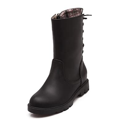 Women's Solid Kitten Heels Closed Round Toe PU Zipper Boots