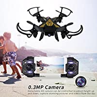 SBEGO 130W FPV RC Drone with Camera HD Live Video WiFi 2.4GHz 4CH 6-Axis Gyro RC Quadcopter with One Key Return and Headless Mode Function RTF, Color Black