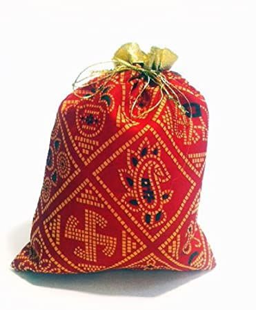 Amazon.com: Set of 2- Indian Gift Packaging Drawstring Bags ...