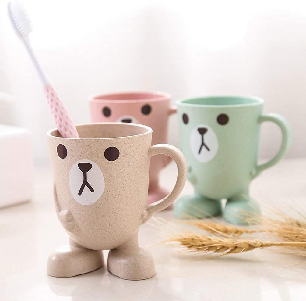 Cute Childrens Cup Cartoon Cup Stereo Base Mouthwash Cup Pink