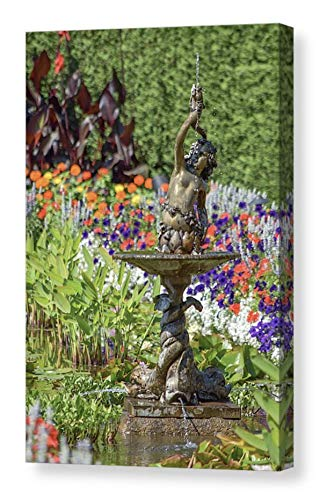 (Colorful Art CANVAS Print Bright Flower Garden Picture Formal Italian Bronze Cherub Fountain Photo Floral Photography Orange Wine Red Purple Green Foliage Ready to Hang 8x12 12x18 16x24 20x30)