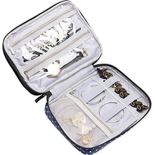 Teamoy Trousse à bijoux de voyage, Organisateur de rangement multifonctionnel pour bijoux (bagues, montres, bracelets, colliers, et boucles d'oreilles), Bleu à pois