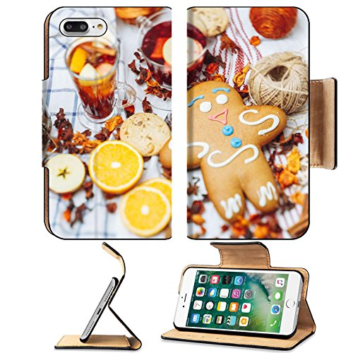 - Luxlady Premium Apple iPhone 7 Plus Flip Pu Leather Wallet Case iPhone7 Plus 34816508 giant gingerbread among pieces of fruits and spices