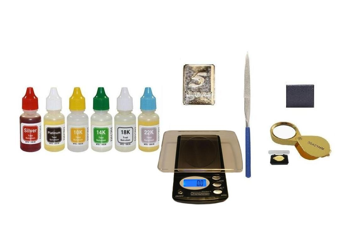 PuriTEST Pro Cash for Gold Kit- Also Test Silver,Platinum- Box of Acids Plus Scale, Accessories, and Fine Silver Sample