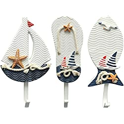 Aligle Tm Large Art Hook Wooden Nautical Coat Hat Clothes Towel Wall Hooks Hangers Hanging Decoration Wall Mounted Key Hook Metal Home Decor 3pcs Mediterranean Style Slippers Sailing Fish Utility Hook