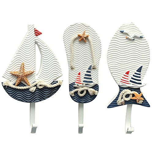 (Aligle Tm Large Art Hook Wooden Nautical Coat Hat Clothes Towel Wall Hooks Hangers Hanging Decoration Wall Mounted Key Hook Metal Home Decor 3pcs Mediterranean Style Slippers Sailing Fish Utility Hook )