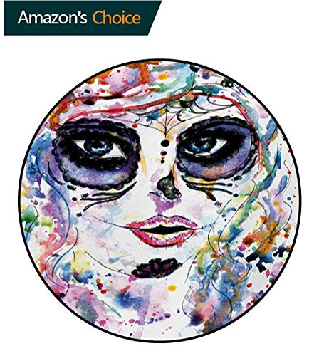RUGSMAT Sugar Skull Non-Slip Area Rug Pad Round,Halloween Girl with Sugar Skull Makeup Watercolor Painting Style Creepy Look Protect Floors While Securing Rug Making Vacuuming,Round-63 -
