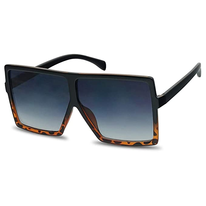81c60b85fb5d XL Extremely Oversize Slim Square Flat Top Shield Mod Sunglasses Designer  Shades (Black Tortoise