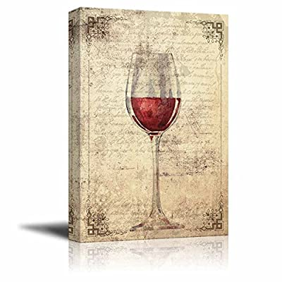 Canvas Wall Art - A Glass of Red Wine on Vintage Letter Background - Gallery Wrap Modern Home Art | Ready to Hang - 32x48 inches