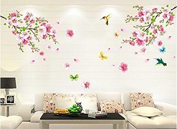 HALLOBO® XXL Wandtattoo Blumen Vogel Schmetterling Wandaufkleber Wandsticker  Wall Sticker Wohnzimmer Schlafzimmer Deko