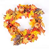 Artificial Maple Leaves Pumpkin Wreath, Fall Harvest Decorations Pumpkin Door Rattan Fake Berry Garland Thanksgiving Day Home Wall Ornament 40cm (style02)