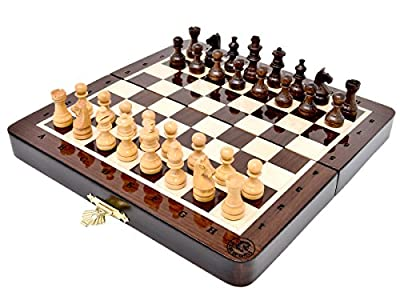 House of Chess - 7.5 Inch Wooden Magnetic Folding Travel Chess Set / Board with Algebraic Notation - Handmade - Premium Quality