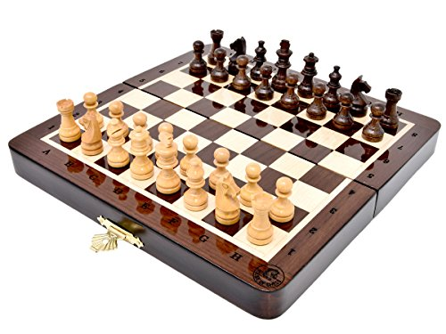 (House of Chess - 7.5 Inch Wooden Magnetic Folding Travel Chess Set / Board with Algebraic Notation - Handmade - Premium Quality)
