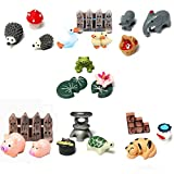 Buytra 7-Set/21 Pieces Miniature Fairy Garden Animals World Ornament Dollhouse Plant Pot Figurine DIY Decor Home Decoration