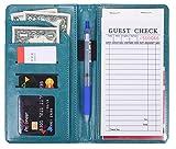 Mymazn Waiter Book Server Wallet Server Pads Waitress book Restaurant Waitstaff Organizer, Guest Check Book Holder Money Pocket Fit Server Apron (4.5 X 7.5, Turquoise Green)