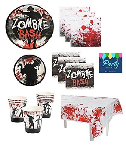 Zombie Bash Party Supplies Pack for 16 Guests Including: Large Plates, Small Plates, Large Napkins, Beverage Napkins, Cups & Table (Birthday Party Games Halloween Theme)
