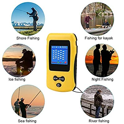Portable Fish Finder Wireless Transducer Fishfinder for Boat,Kayak Ice Fishing, Shore Fishing and Sea Fashing