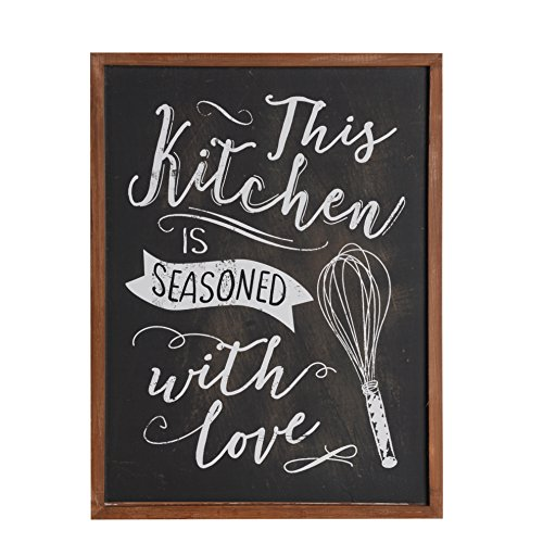 (NIKKY HOME Wood Framed Chalkboard Kitchen Wall Art Poster Print with Quote This Kitchen is Seasoned with Love, 16'' x 12'', Black)