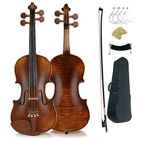 Aliyes Premium Violin 4/4 Full Size Solid Wood Violin For Beginner Violinist/Professional Student Violin Kit String,Shoulder Rest,Rosin,Bridge(YWA-2) by Aliyes