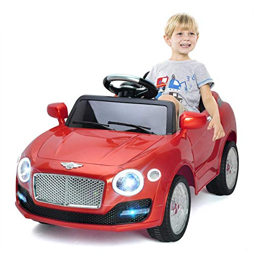 Costzon Ride On Car, 6V Battery Powered Vehicle, Manual/ 2.4G Parental Remote Control Modes Car w/Flashing Wheel Lights, Swing Function, 3 Speeds, Bluetooth, MP3, Music, Radio, Horn for Kids (Red)