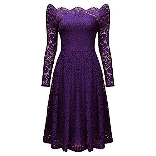 descubiertos de formal mujer Púrpura vestido vestido de vestido manga de Vestido escote elegante vestido hombros vendimia coctel fiesta noche larga las fiesta de la AIMEE7 de mujeres HEqRz