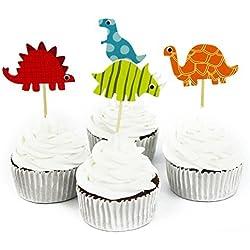 48 Pcs Dinosaur Cupcake Picks Cupcake Toppers Food Fruit Picks for Decoration By Fireboomoon