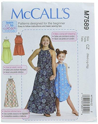 - McCall's Patterns M7589CZ0 Children's/Girls' Gathered Neckline Sleeveless Dresses