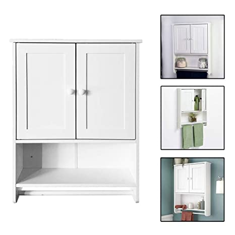 Zipperl Wall Cabinet Bathroom Wall Mounted Cabinet With Towel Bar And Doors Kitchen Medicine Storage Organizer White