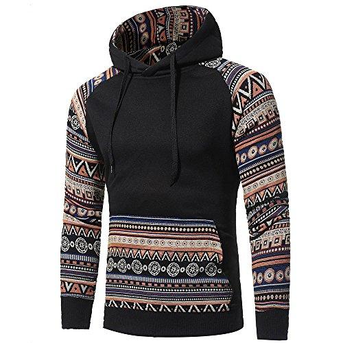 ZEFOTIM Men Retro Long Sleeve Hoodie Hooded Sweatshirt Tops Jacket Coat Outwear ()
