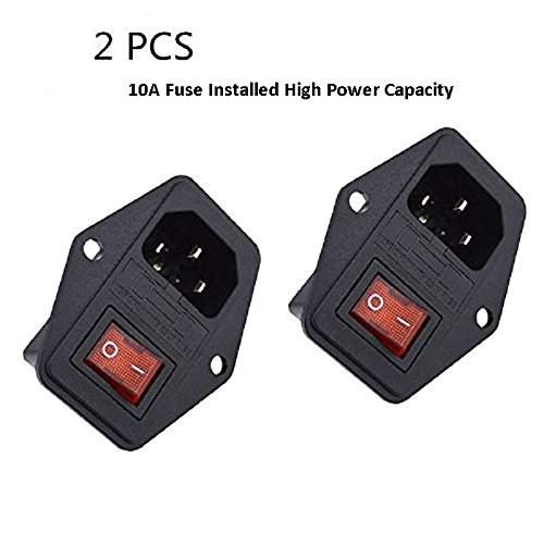 (BVPOW Power Inlet Module Plug Male Socket with Rocker Switch 10A Fuse 3 Pin 250V 10A IEC320 C14 for Computer and Home Appliance Power Accessory 2 PCS)