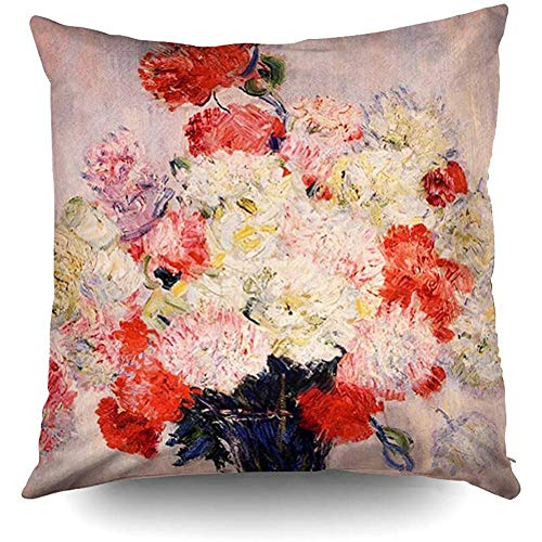 - Vase of Peonies Monet Fine Art Decorative Throw Pillow Case 18X18 Inch,Home Decoration Pillowcase Zippered Pillow Covers Cushion Cover with Words for Book Lover Worm Sofa Couch