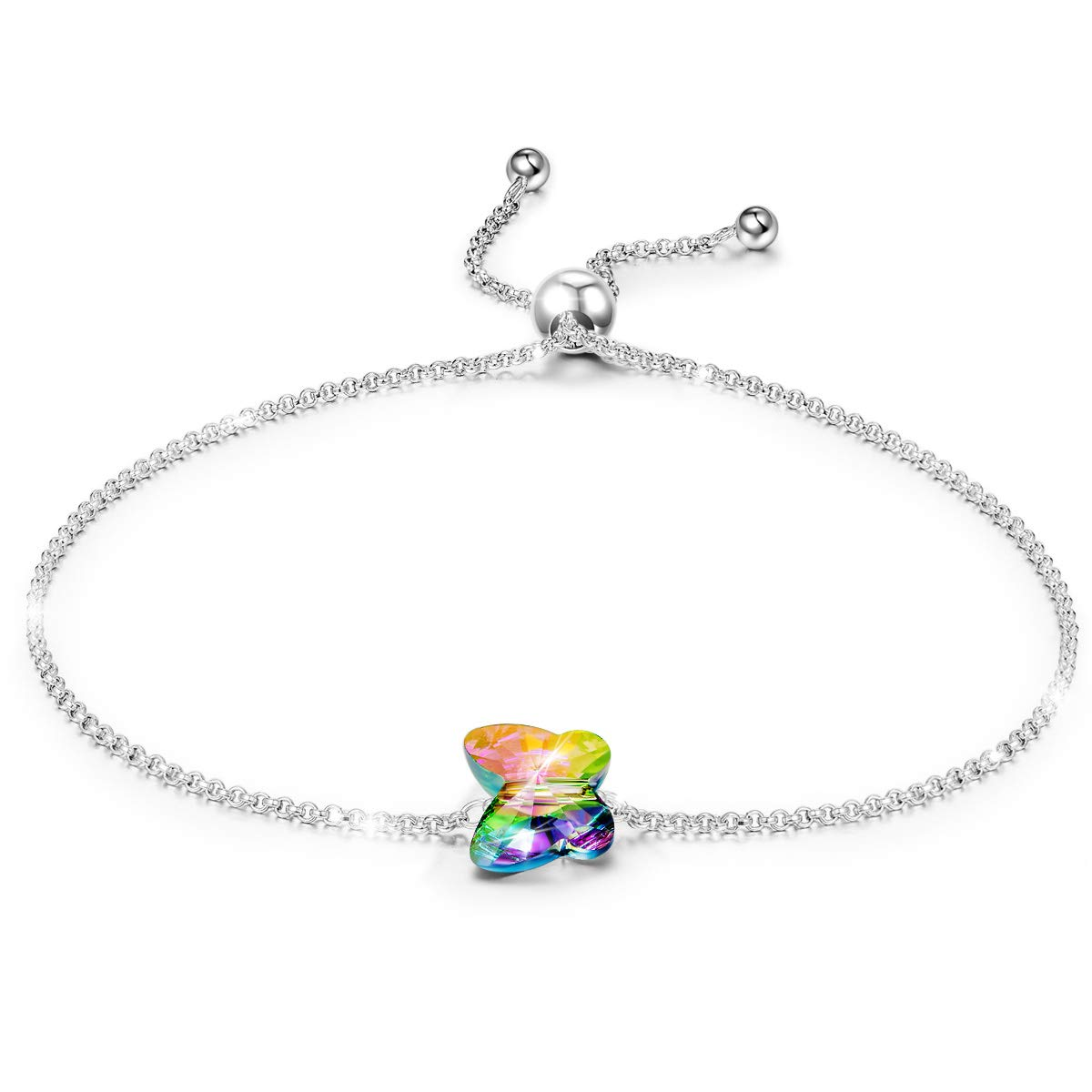 LADY COLOUR for Her 925 Sterling Silver Butterfly Bracelet Swarovski Crystal Fine Jewelry for Women Birthday Gifts for Women Teen Girls Sister for Wife Daughter Mom