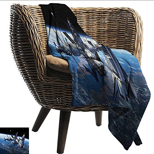 EwaskyOnline Outer Space Nap Blanket Space Shuttle and Station View Cosmonaut Adventure on Myst Globe Orbit Off car/Airplane Travel Throw 80