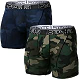 TSLA Men's Relaxed Stretch 6 inches Open-Fly Cool Dry Brief Mesh Underwear Trunk (Pack of 2), Fly-Front 6inch 2pack(mbu02) - Camo Olive/Blue, Medium