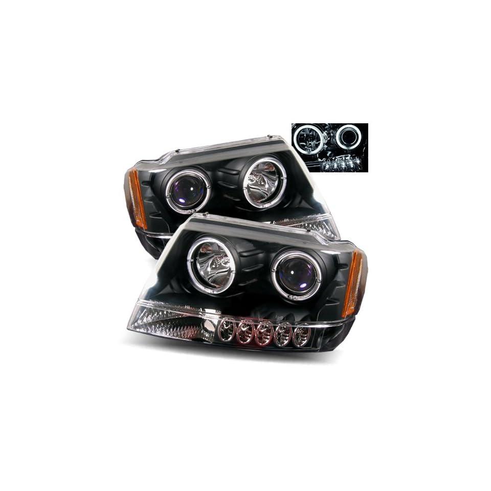 Jeep Grand Cherokee Black CCFL Halo Projector Headlights /w Amber