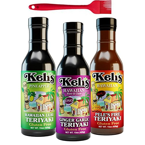 Keli's Sauces Variety 3-Pack with FREE Silicone Basting Brush. Low Sodium & Gluten Free BBQ set with Teriyaki Sauce & Teriyaki Sauce Marinade for All occasions. Backyard BBQ Go To Teriyaki Wing Sauce