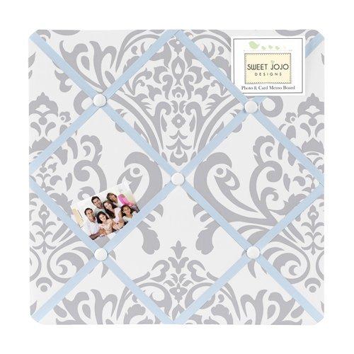 Damask Light (Blue, Gray and White Damask Print Avery Fabric Memory/Memo Photo Bulletin Board for Unisex Girl)
