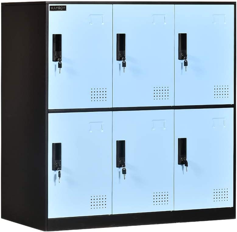 6 Door Locker Office Storage Locker Home and School Storage Organizer Metal Storage Cabinet with Lock for Classroom Gym Kids Room Playroom (Blue)
