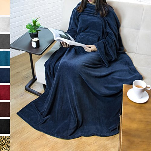 PAVILIA Premium Fleece Blanket with Sleeves for Adult, Women, Men | Warm, Cozy, Extra Soft, Microplush, Functional, Lightweight Wearable Throw (Navy, Regular Pocket) by PAVILIA