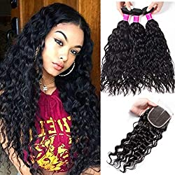 RECOOL Wet and Wavy Human Hair Bundles and Closure Brazilian Water Wave Bundles with Closure 10A Virgin Hair Extensions Natural Color Real Good Quality Hair(16 18 20+14)