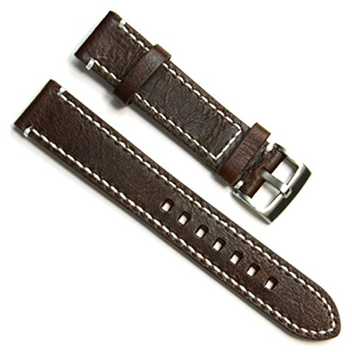 18mm Handmade Vintage Cowhide Leather Watch Strap/Watch Band (White Stitch/Coffee)