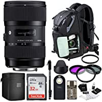 Sigma 18-35mm F1.8 DC HSM Lens for Nikon with 32GB Accessory Bundle