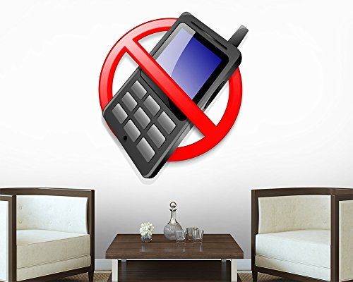 """No Mobile Phones - 18""""H x 17""""W - Peel and Stick Wall Decal by Wallmonkeys"""