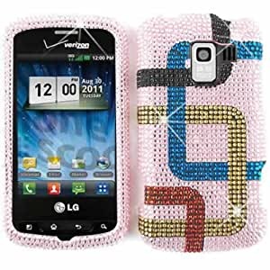 Pink Green Red Piping Lines Diamond Bling Stones Snap on Cover Faceplate for LG Enlighten Vs700