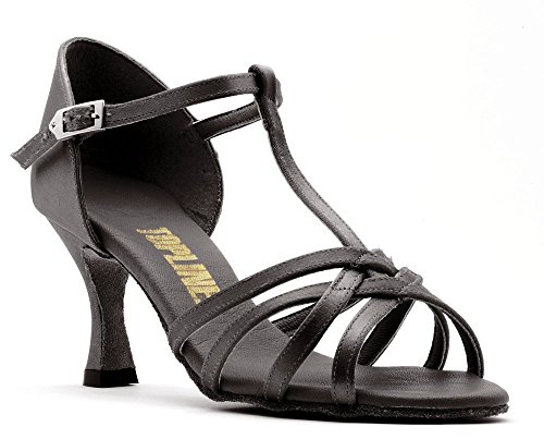 Ladies Tan Or Black Satin Latin Ballroom Dance Shoes ANNA T-BAR 3